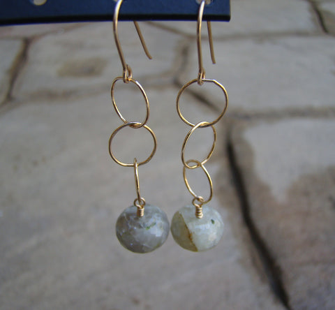 Earrings-dangly goldfilled moss