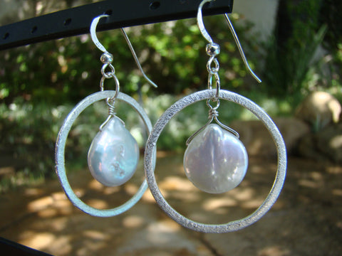 Earrings-silver rounds