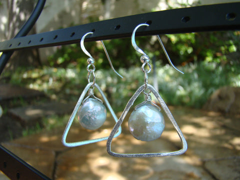 Earrings-silver triangles