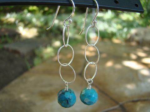 Earrings-dangly silver turquoise
