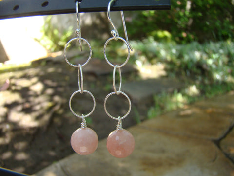 Earrings-dangly silver pink