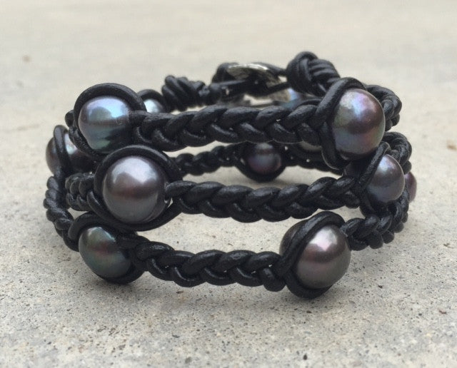 Braided black leather wraparound