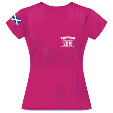 2019 - European Championships - Dry wicking Tour / Training Shirt (Ladies) - Hot Pink  (no print on back)