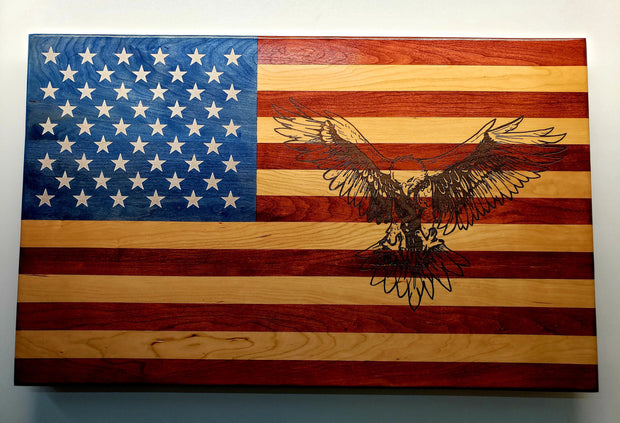 American Eagle Flag Wooden American Flag American Grains LLC