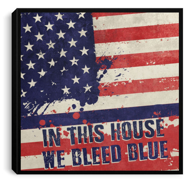 "We Bleed Blue Canvas Housewares CustomCat Black 8"" x 8"""