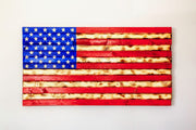 Rustic Red, White, and Blue Flag Wooden Flag Torch Stories