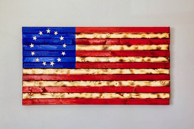 Red, White, and Blue Betsy Ross Flag Wooden Flag Torch Stories