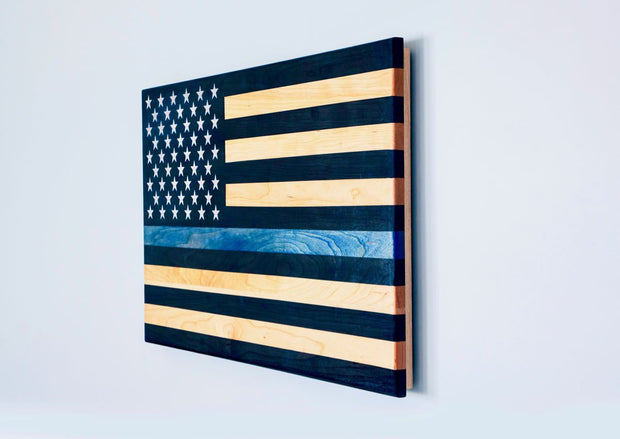 "Thin Blue Line Flag - ""The Protector"" Wooden American Flag American Grains, LLC"