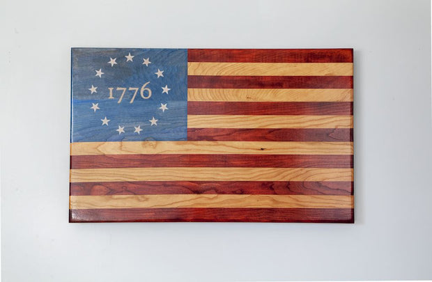 Engraved Betsy Ross Flag Wooden American Flag American Grains, LLC 1776