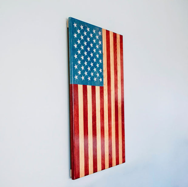 "Vertical Flag - ""The Patriot"" Wooden Flag American Grains LLC"