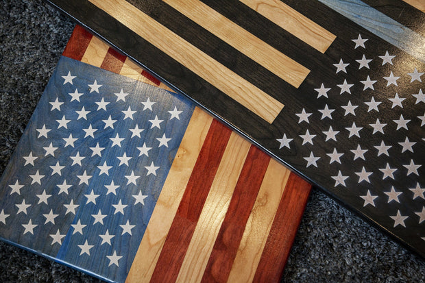 "American Flag Laser Engraved Stars - ""Old Glory"" Wooden American Flag American Grains, LLC"