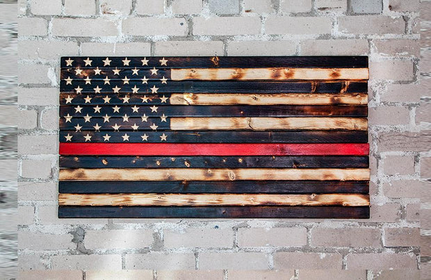 Thin Red Line (Fire) Flag Wooden Flag Torch Stories