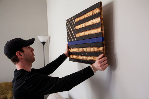 Thin Blue Line (Police) Flag Wooden Flag Torch Stories