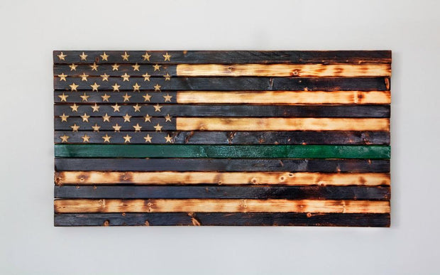 Thin Green Line (Military) Flag Wooden Flag Torch Stories