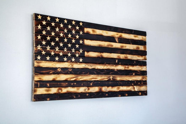 Subdued American Flag Wooden Flag Torch Stories
