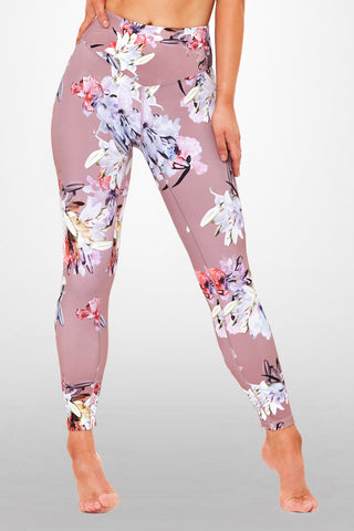 Lily Floral 7/8 Legging - Dusty rose