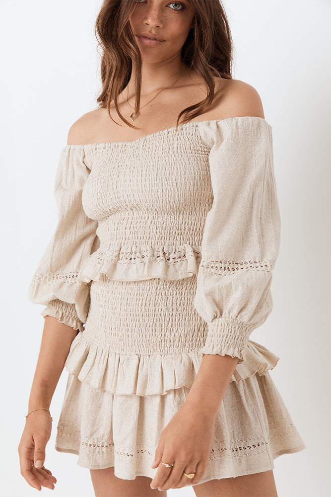 Lola Ruched Off Shoulder Top