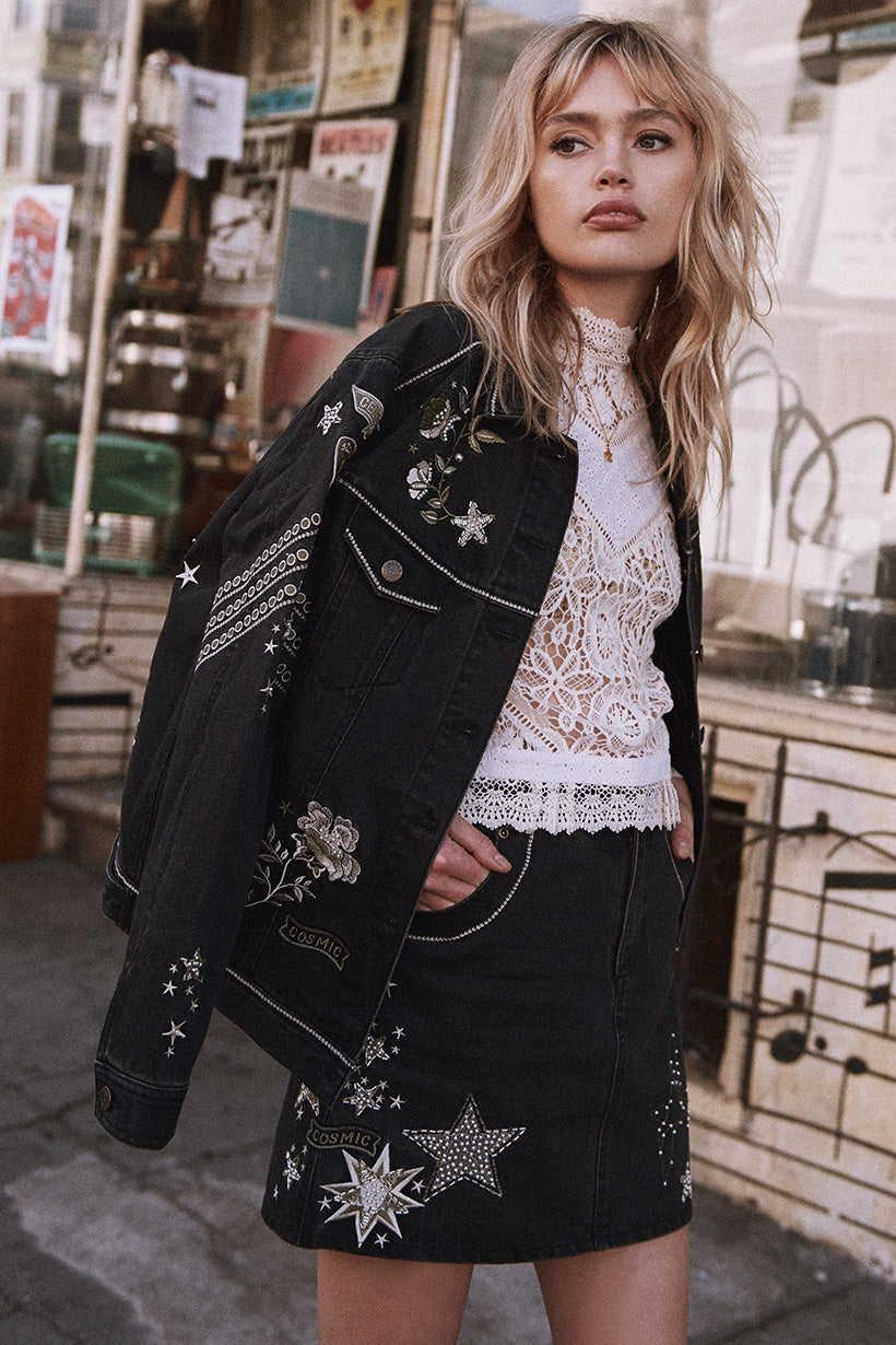 Spell Celestial Embellished Denim Jacket