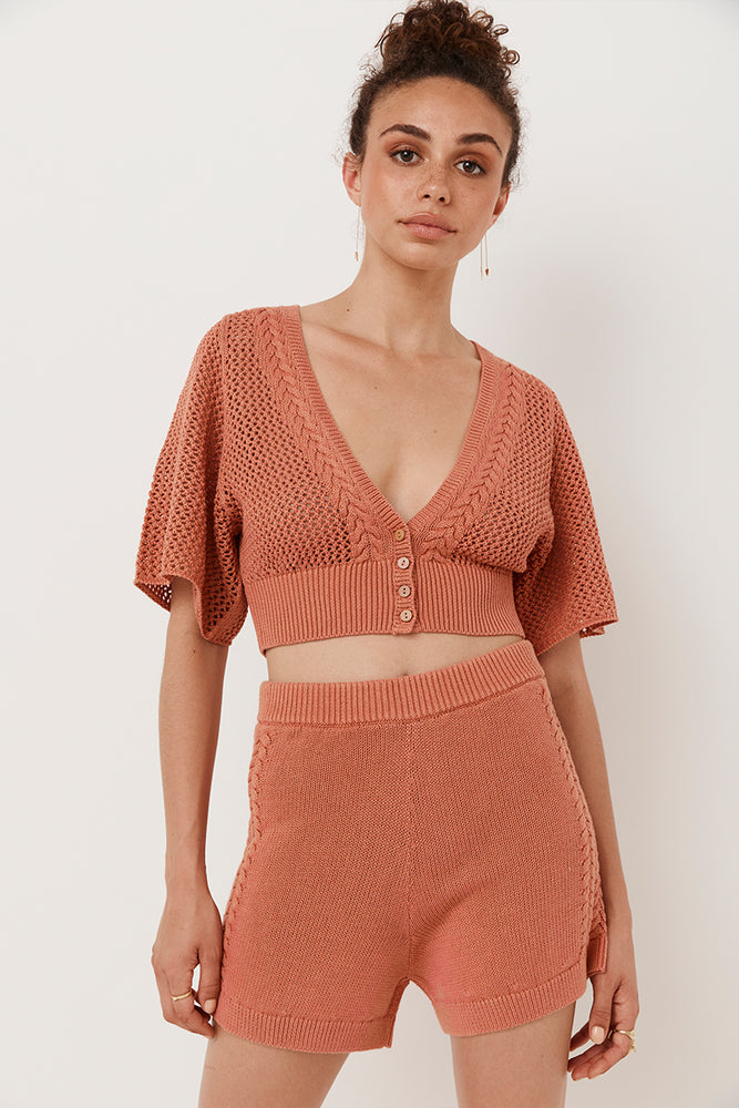Chloe Crop Cardigan Knit Top