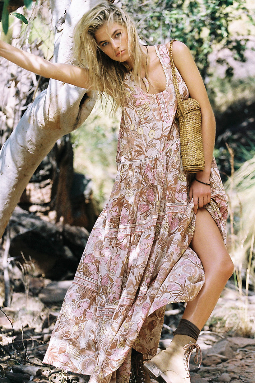 Megan Irwin wears Spell Jungle Maxi Sundress