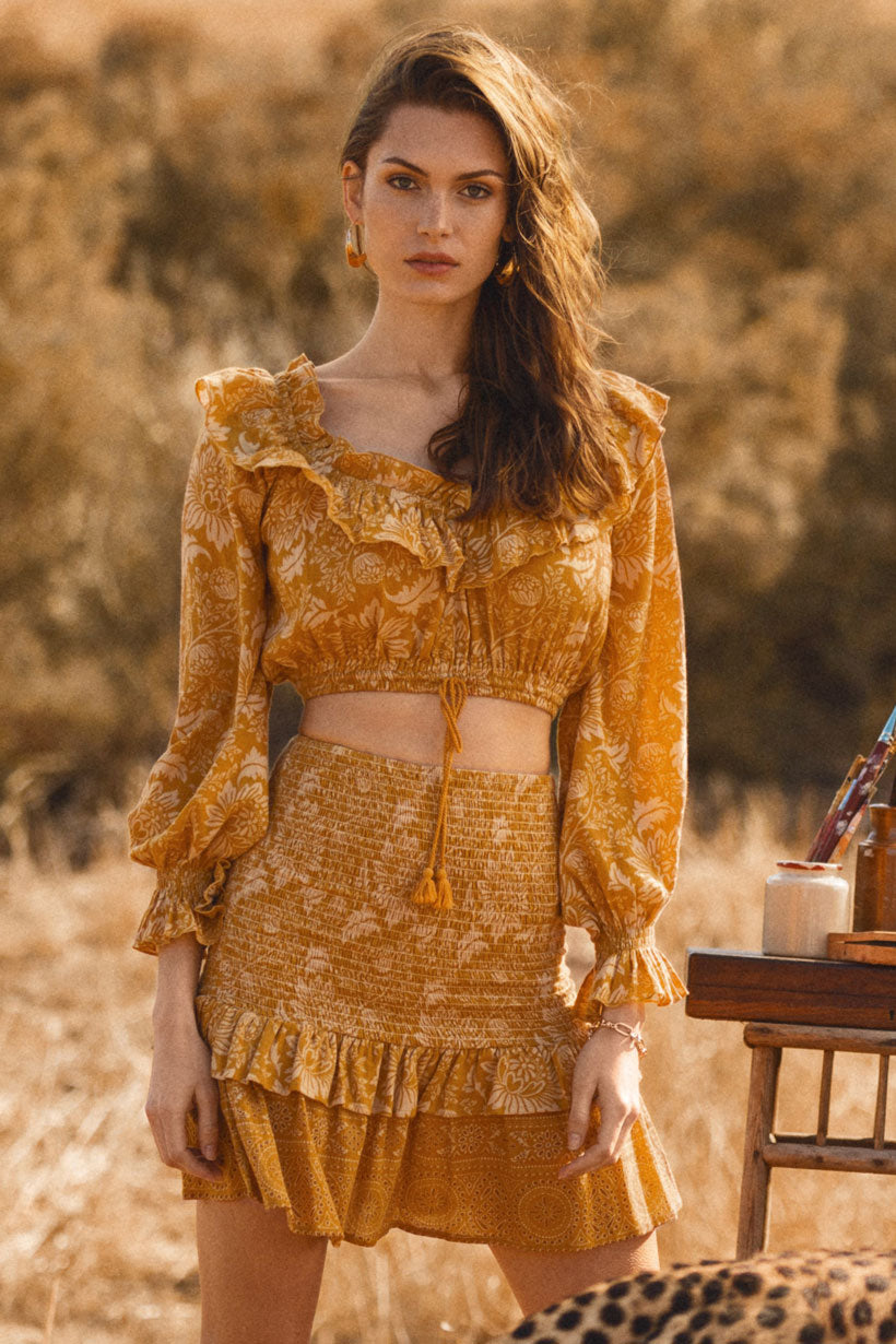 Marion Pascale wears Spell Lioness Peasant Blouse