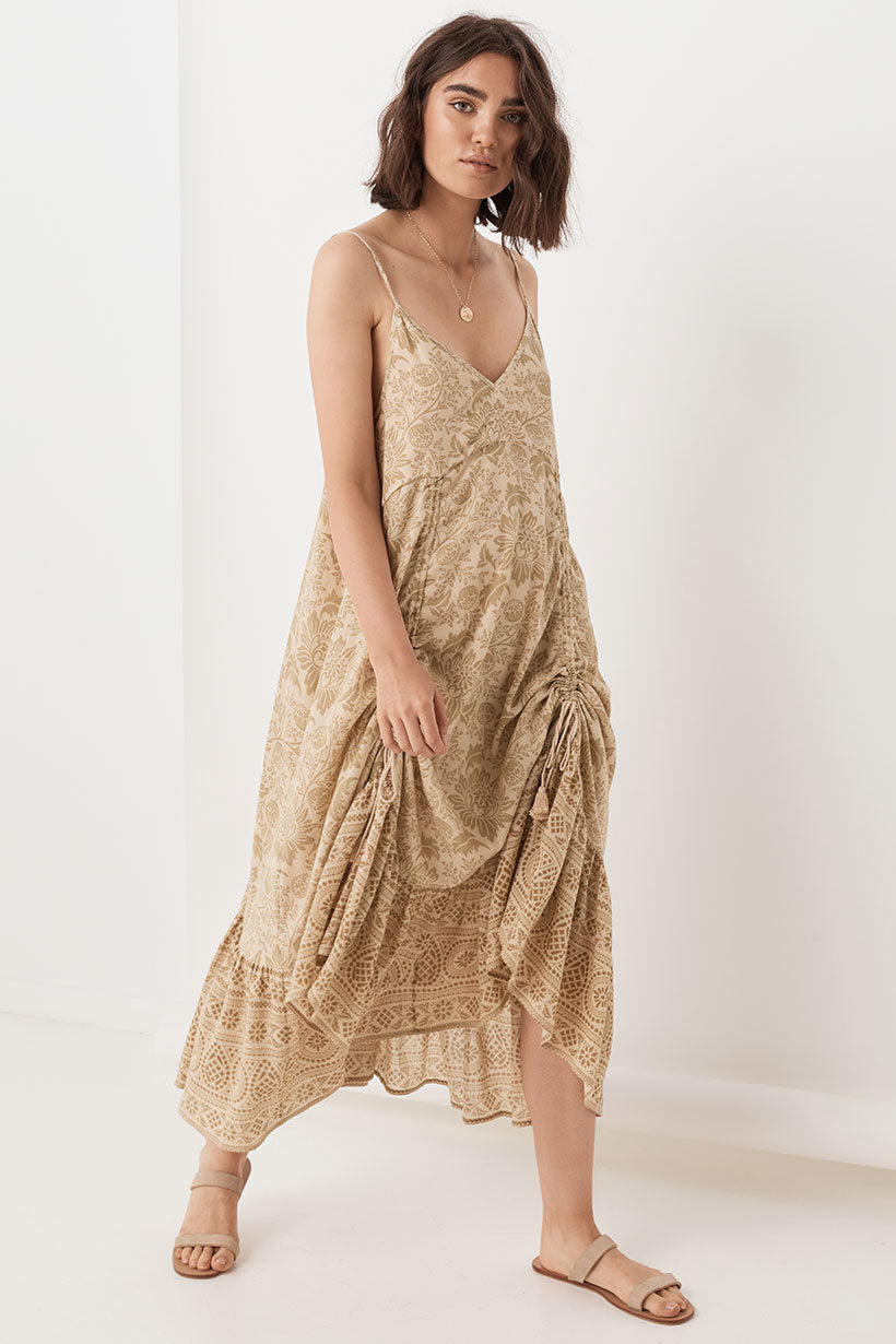 Spell Lioness Ruched Strappy Dress