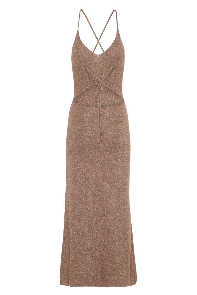 Spell Petra Metallic Knit Slip Dress