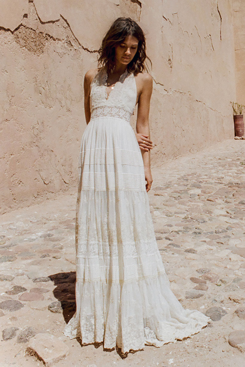 Mila De Wit-Bourke wears Spell Designs Angelica Halter Gown