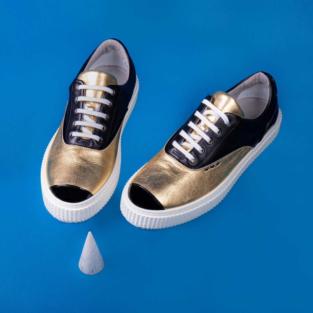 BLACK AND GOLD MEAKER SNEAKER - ME.LAND