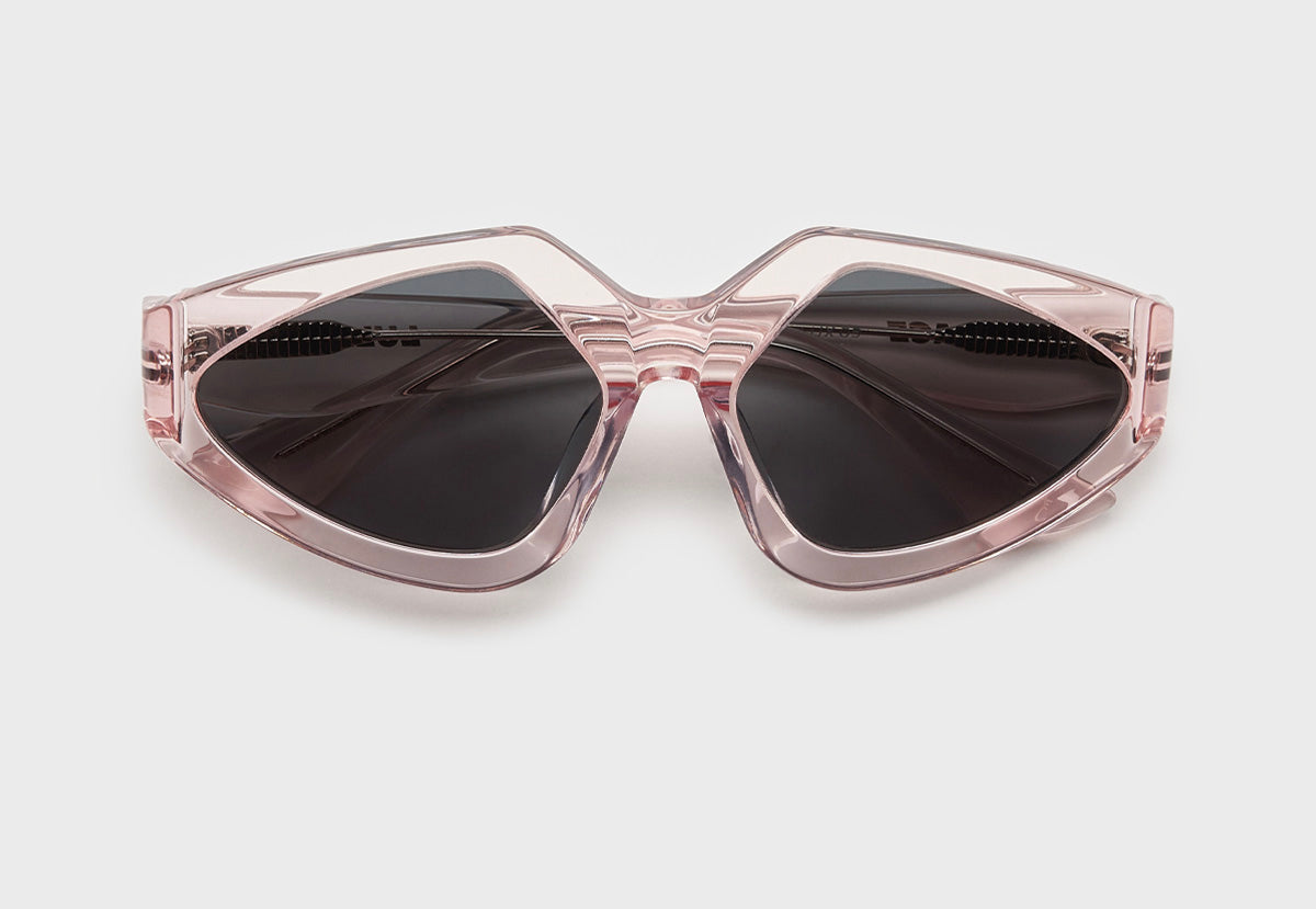 lula pace sunglasses for women in clear pink mazzucchellli acetate with grey lenses high quality premium luxury eyewear