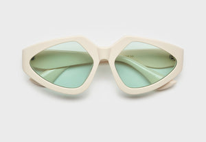 lula pace sunglasses for women in bone mazzucchellli acetate with teal lenses high quality premium luxury eyewear