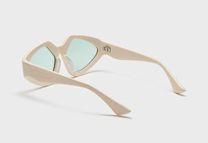 lula pace sunglasses for women in cream bone mazzucchellli acetate with teal lenses high quality premium luxury eyewear