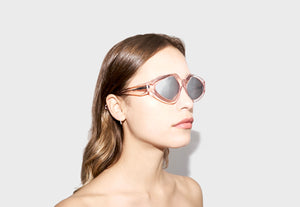 lula pace sunglasses for women in clear pink mazzucchellli acetate with silver mirror lenses high quality premium luxury eyewear