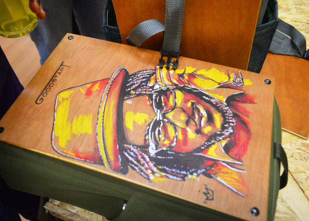 art drawing portrait wood engraving print painted on woodsack backpack Goodstart Jones