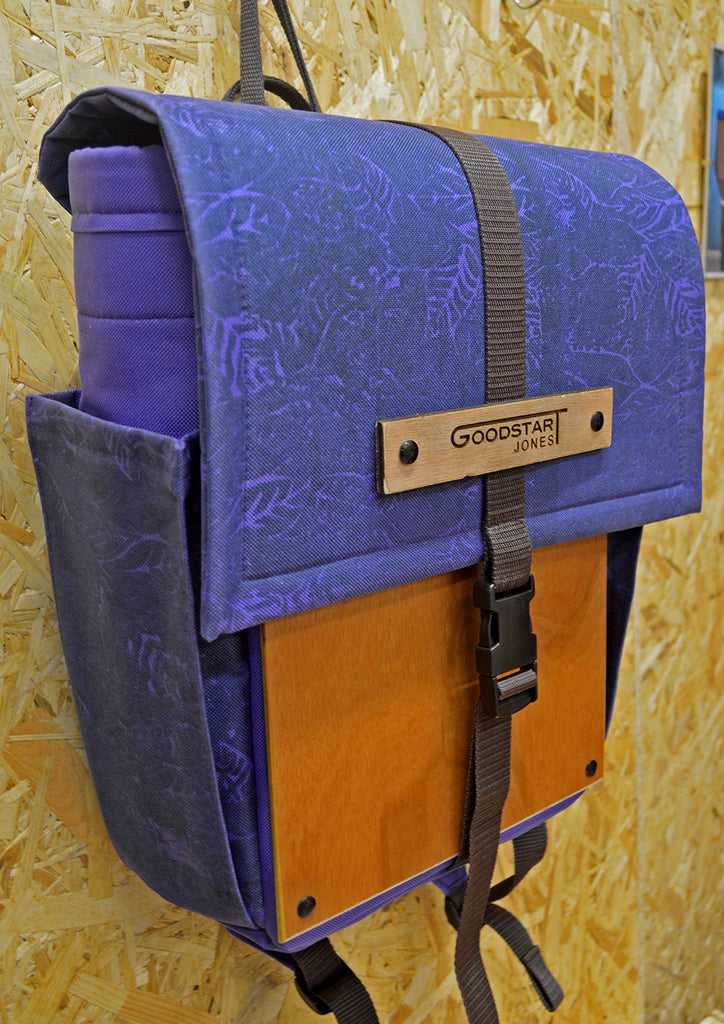 woodsack Backpack Goodstart Jones bag design Purple woodsack wood sack bag