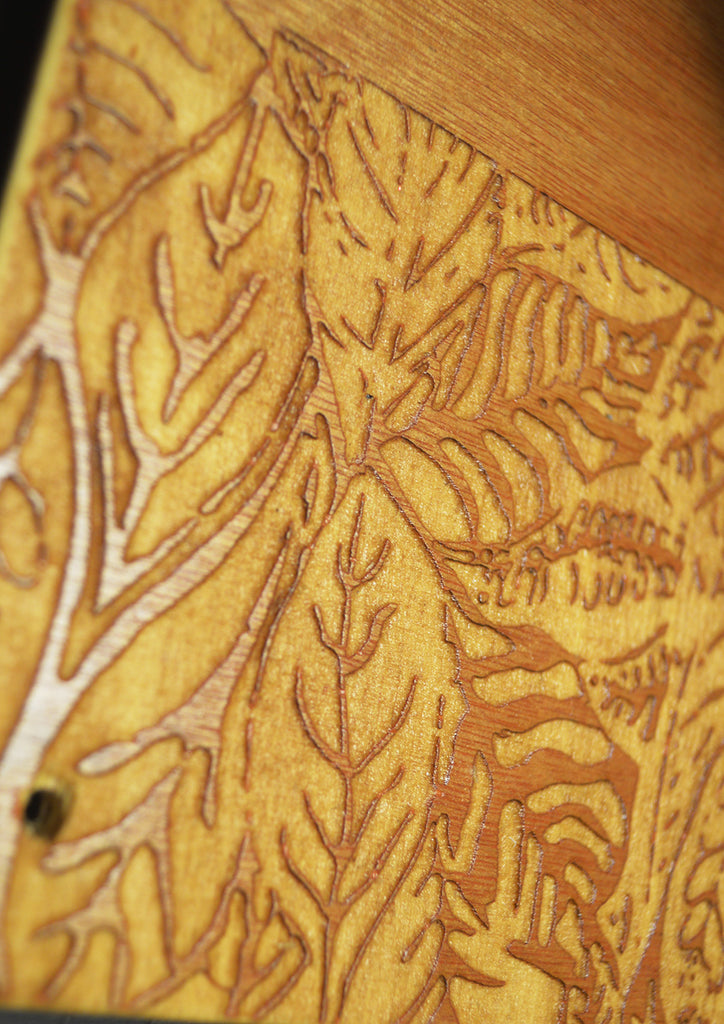 Goodstart Jones wood engraving woodsack Backpack crazy leaf wood details hand made