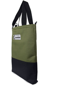 Olive tote bag by Goodstart Jones half black collection side view