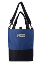Load image into Gallery viewer, straps up Goodstart Jones Half Black Blue tote bag
