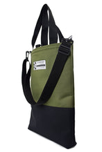 Load image into Gallery viewer, olive and black large tote bag shopper by Goodstart Jones  with shoulder strap