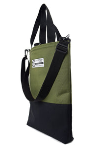olive and black large tote bag shopper by Goodstart Jones  with shoulder strap