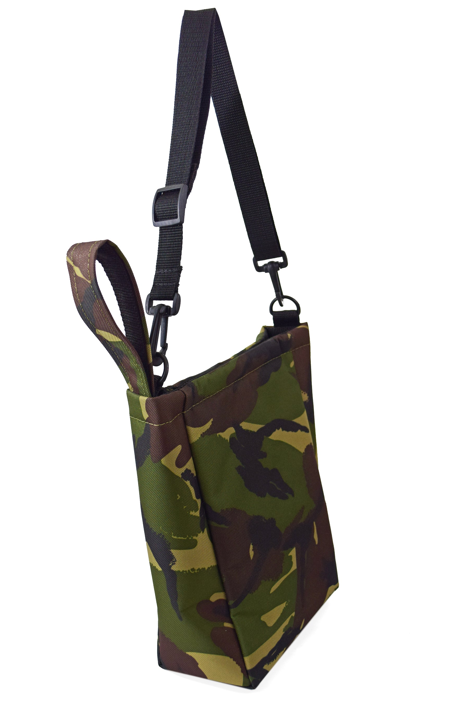 camouflage bumbag fanny pack by Goodstart Jones with shoulders strap hanging