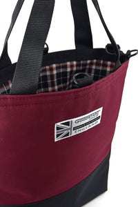 designer tote bag by Goodstart Jones burgundy wine maroon and black