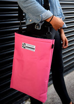 Load image into Gallery viewer, wearing pink tote bag by Goodstart Jones