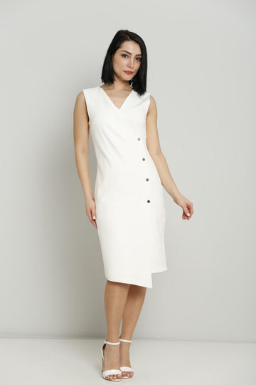 White Sleeveless Button Dress
