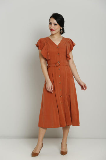 Terracotta Button Dress