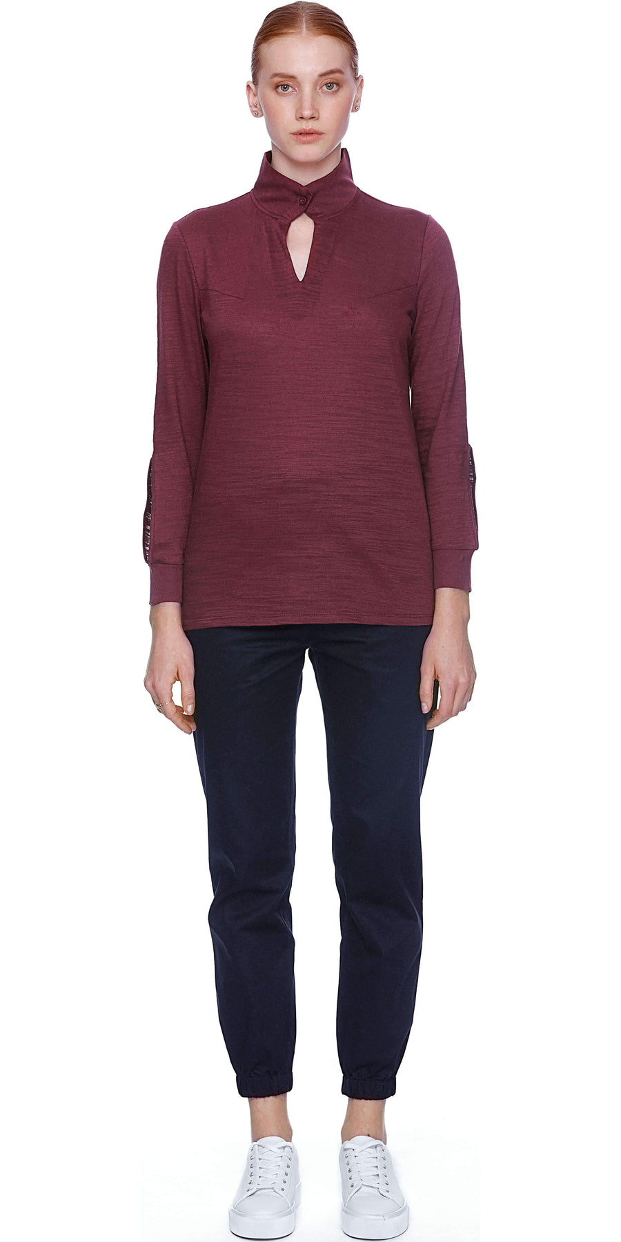 Long Sleeve Top with button detail - Burgundy