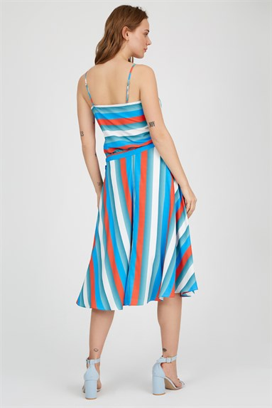 Blue-Orange Stripy Top