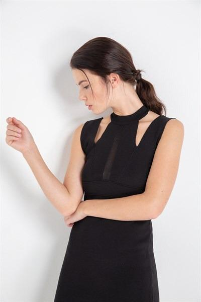 Black Cut Out Detail Midi Dress