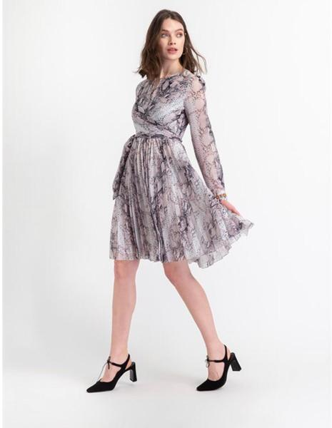 Snake Print Pleated Dress