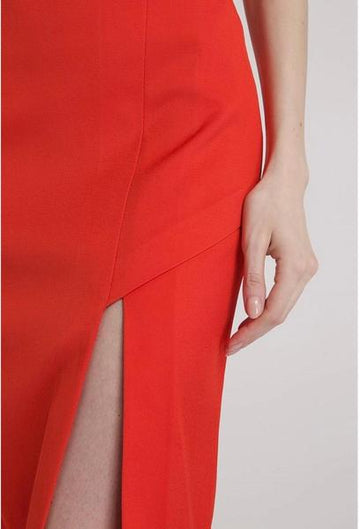 Red Pencil Skirt with Slit